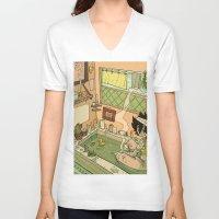 bath V-neck T-shirts featuring Bath by oculus-feline