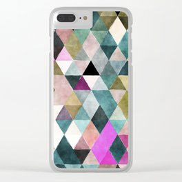 Abstract colorful watercolor geometrical triangles Clear iPhone Case