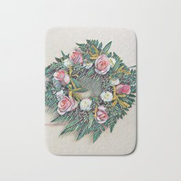 Rose Ring in pink, white, yellow and green Bath Mat