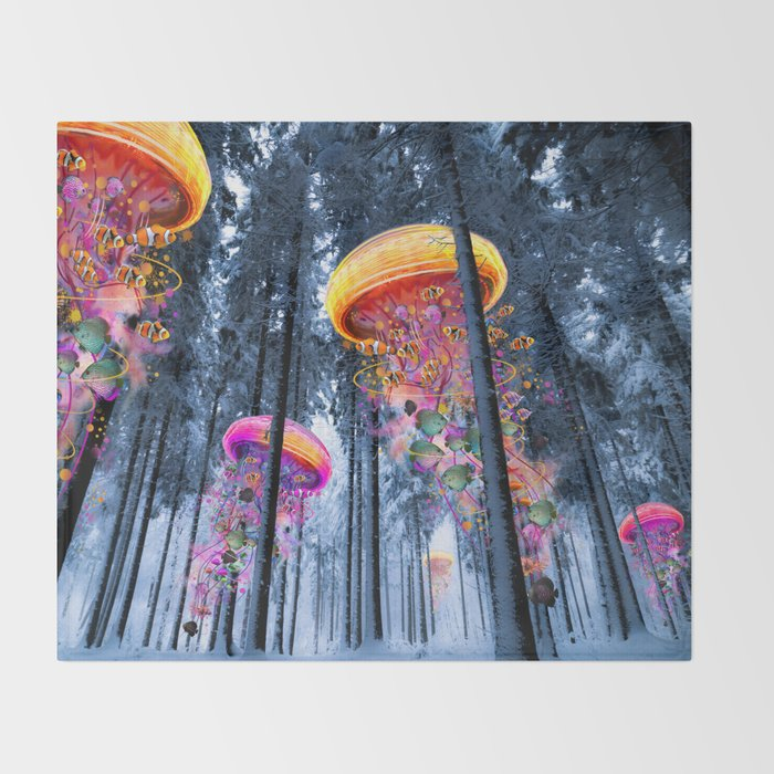 Winter Forest of Electric Jellyfish Worlds Throw Blanket