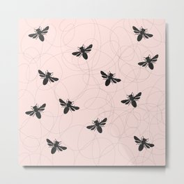 Bee Dance on Pink - Mix & Match With Simplicity of Life Metal Print