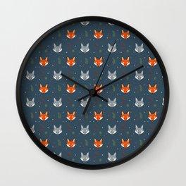 Cute Fox Pattern - Dark Blue Wall Clock
