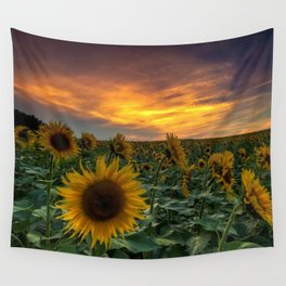 Young Girl And Sunflower Wall Tapestry
