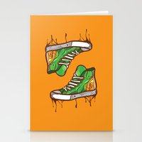 sneaker Stationery Cards featuring Green Sneaker by ArievSoeharto