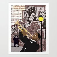 louis armstrong Art Prints featuring Louis Armstrong by Cwilwol