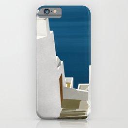 Steps to the Aegean - Santorini, Greece - Minimalist Travel Painting iPhone Case