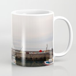 Fishing boats at dusk, docked in a small english harbour town. Coffee Mug