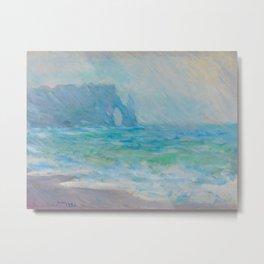 Claude Monet Impressionist Landscape Oil Painting Regnvær, Etretat Metal Print