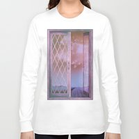 shabby chic Long Sleeve T-shirts featuring Lavender Fields in Window Shabby Chic original art by Glimmersmith