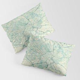 Leeds Map Blue Vintage Pillow Sham