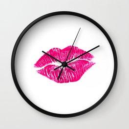 Hot Pink Lips Wall Clock