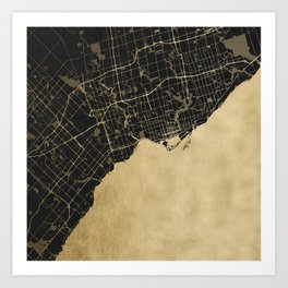 Toronto Gold and Black Street Map Art Print