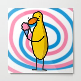 Pink & Blue Cotton Candy Duck Snacking | Veronica Nagorny  Metal Print