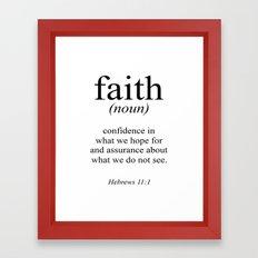 Hebrews 11:1 Faith Definition Black & White, Bible verse Framed Art Print