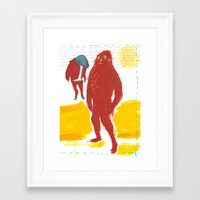 bigfoot Framed Art Prints featuring Bigfoot by ellen marie bae