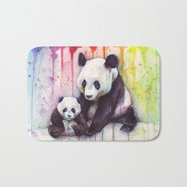 Rainbow Pandas Watercolor Mom and Baby Panda Nursery Art Bath Mat