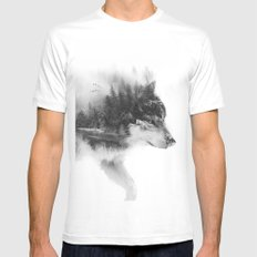 Wolf Stalking LARGE White Mens Fitted Tee