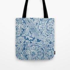 Blue Boho Paisley Pattern Tote Bag