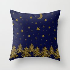 Sparkly Christmas tree, moon, stars Throw Pillow