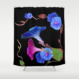 Black  Color Blue Morning Glory Art Design Pattern Shower Curtain