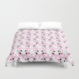 Super Cute Kawaii Bunny and Panda (Pink) Duvet Cover