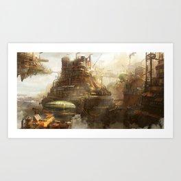Steampunk city Art Print