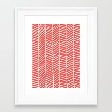 Coral Herringbone Framed Art Print