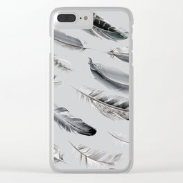 Cosmic Feathers Silver Dust Clear iPhone Case