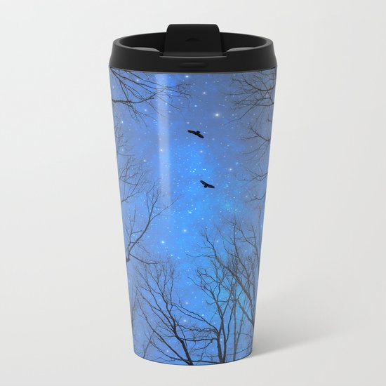 A Certain Darkness Is Needed (Night Trees Silhouette) Metal Travel Mug