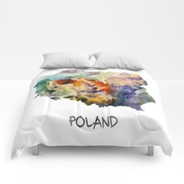 Map of Poland watercolor Comforters