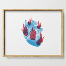 Heart in flames Serving Tray