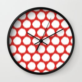 Red Asian Moods Ikat Dots Wall Clock