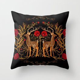 Two Stags Protecting The Dark Forest Gate Throw Pillow