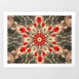 dalia green red mandala Art Print