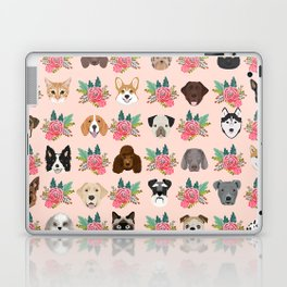 Dogs and cat breeds pet pattern cute faces corgi boston terrier husky airedale Laptop & iPad Skin