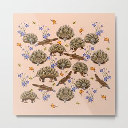 monotremes and wildflowers on apricot Metal Print