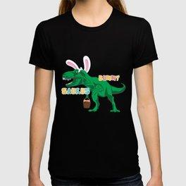 BunnySaurus T Rex Dino Bunny Ears with Easter Basket Gift T-shirt