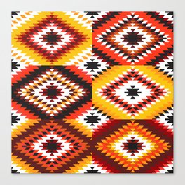Colorful patchwork mosaic, oriental kilim rug Canvas Print