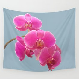 Orchids Photo to Paint on Blue Wall Tapestry