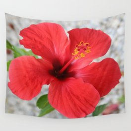 A Stunning Scarlet Hibiscus Tropical Flower Wall Tapestry