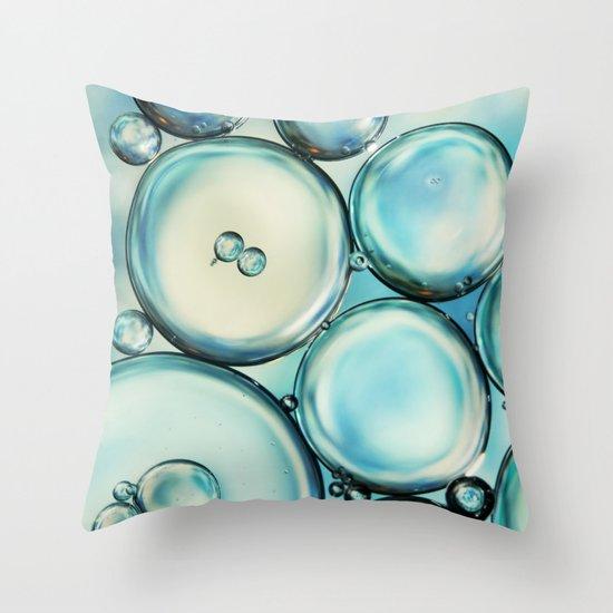 Sky Blue Bubble Abstract Throw Pillow