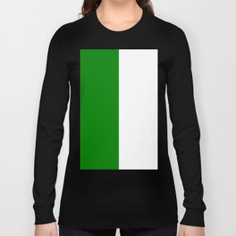 White and Green Vertical Halves Long Sleeve T-shirt
