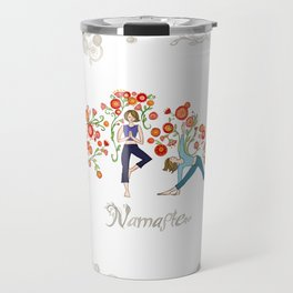 Yoga Girls_Namaste_Poses and Flowers Large scale Travel Mug