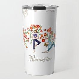 Yoga Girls_Namaste_Poses and Flowers Large scale Travel Mug