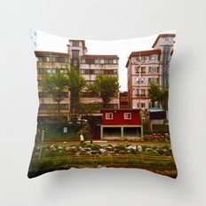 small stream, pink apartments Throw Pillow