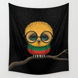 Baby Owl with Glasses and Lithuanian Flag Wall Tapestry