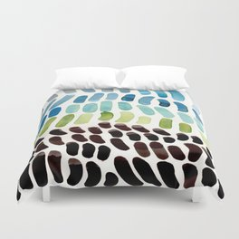 Blue & Green Colorful Aquatic Watercolor Organic Pattern Natural Art Abstract Mid Century Modern Pla Duvet Cover