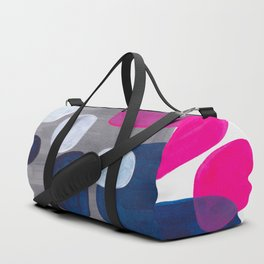 Mid Century Modern Minimalist Colorful Pop Art Grey Navy Blue Neon Pink Color Blobs Ovals Duffle Bag