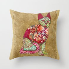Mixed Media Cat Throw Pillow