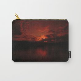Dark Red Sunset in Montana, Water Reflection, Hues of Red, Sailor's Delight Carry-All Pouch